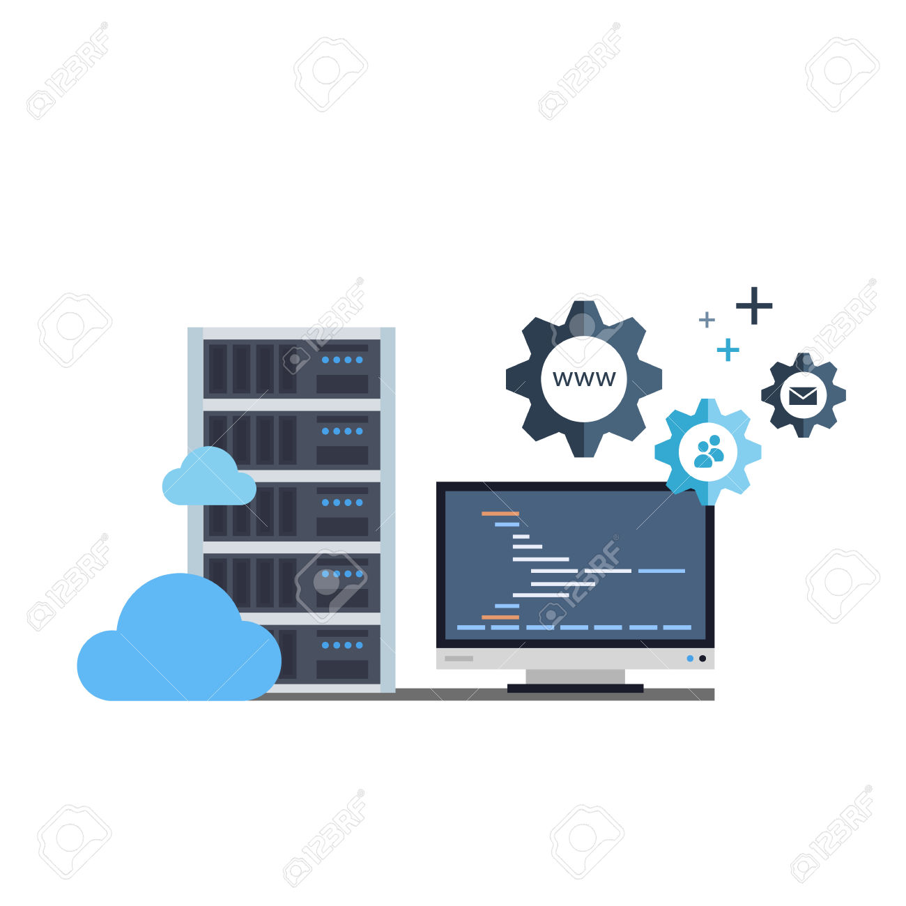 Conceptual Vector Flat Illustration of Server Rack, Monitor and Gears which is Depicting a Process of a Server Administration